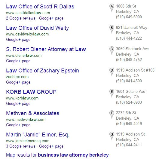 "Google ""7-Pack"" for ""Business Law Attorney"" in Berkeley, CA"
